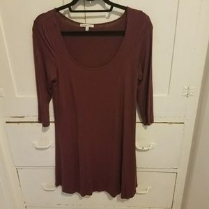 Burgundy 3/4 sleeve dress